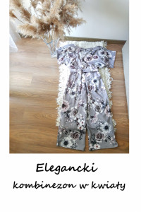 Elegancki szary kombinezon w kwiaty S M szerokie nogawki...