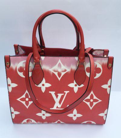 Torebki na co dzień Torebka Torba Czerwona LV Louis Vuitton Logowana Shopper Bag