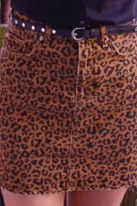 jeansowa spódniczka w panterkę...