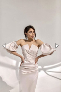 Nowa sukienka beżowa koktajlowa wieczorowa gorsetowa rozmiar S...