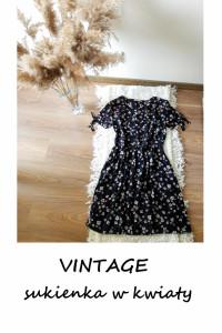 Letnia vintage sukienka w kwiaty wiskoza M L...