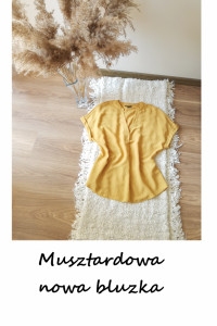 Nowa elegancka musztardowa bluzka M L...