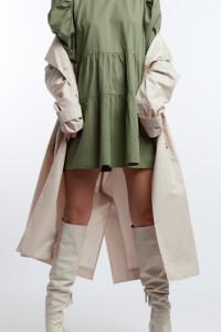 Zielona khaki sukienka tunika baby doll L XL bufiaste balonowe ...