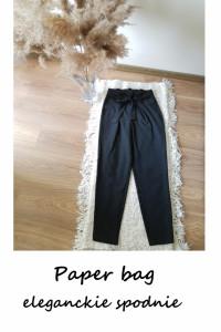 Czarne spodnie paper bag XS wysoki stan z paskiem wiązaniem Onl...