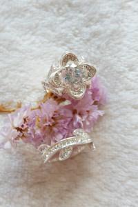 Nowy pierścionek podwójny srebrny kolor kwiat dwa pierścionki o...