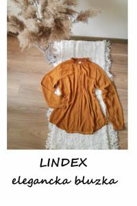 Nowa karmelowa elegancka bluzka ze stójką w kropki L XL...