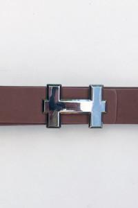 Pasek Brązowy Brąz Hermes 111 cm Srebrna Klamra...