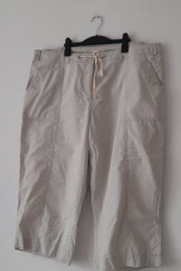 Beżowe letnie spodnie 7 8 wysoki stan 50...