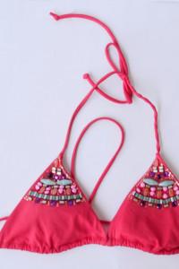 Strój Kostium Kąpielowy Różowy Victoria s Secret M 38 Koraliki...