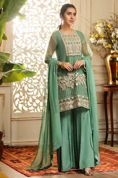 Pozostałe Nowy strój indyjski komplet M 38 zielony złoty tunika spodnie kameez gharara dupatta hippie boho