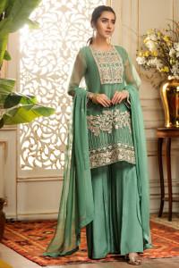 Nowy strój indyjski komplet M 38 zielony złoty tunika spodnie k...