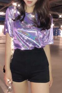 Holograficzna fioletowa bluzka...