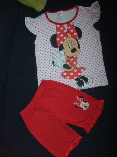 Piżamki nowa piżama pidżama na lato 100 bawełna Myszka Minnie 5 6 7 lat 116 118 122