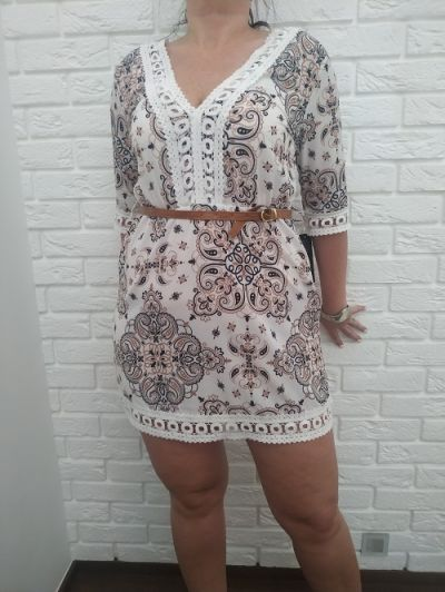 Suknie i sukienki Sukienka na lato w wzory z koronką
