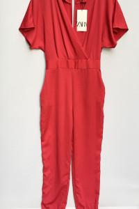 Kombinezon NOWY Czerwony Zara XS 34 Kopertowy Dekolt Wizytowy...