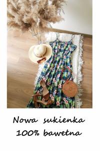 Nowa maxi letnia sukienka w kwiaty bawełna M L długa bawełniana...