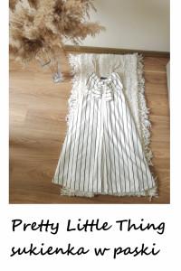 Biała letnia sukienka w paski Pretty Little Thing ozdobne wiąza...