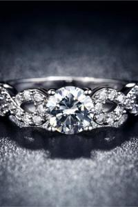 Nowy pierścionek srebrny kolor białe cyrkonie retro elegancki p...