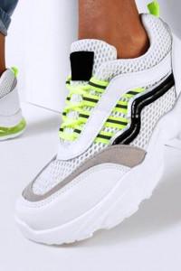 Biało Limonkowe Sneakersy Natural Glisten r40...