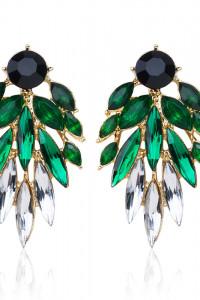 Nowe kolczyki z kryształami czarne zielone białe złoty kolor duże eleganckie