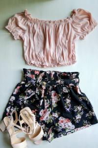 Vintage crop top letnia bluzka hiszpanka pudrowy róż S M...