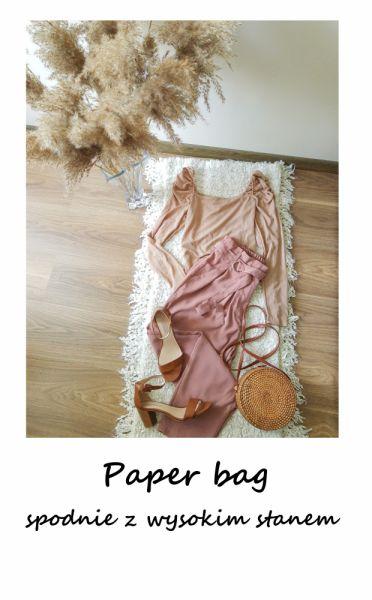 Spodnie Paper bag spodnie z paskiem M L wysoki stan eleganckie brudny róż