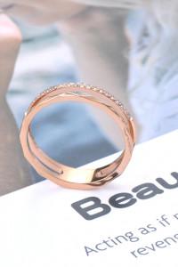 Nowy pierścionek stal szlachetna kolor różowe złoto złoty cyrko...