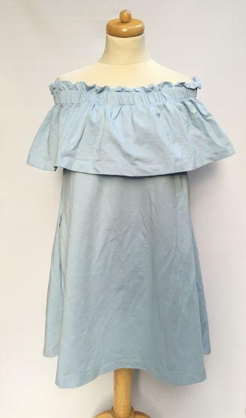 Suknie i sukienki Sukienka H&M XL 42 Hiszpanka Niebieska Odkryte Ramiona Dresowa
