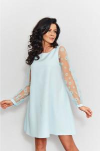 Miętowa sukienka trapezowa S M L ozdobne rękawy