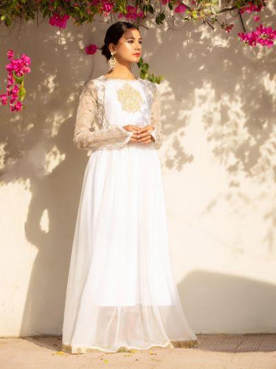 Suknie i sukienki Nowa długa biała sukienka L 40 maxi złoto haft orientalna indyjska Bollywood ślub wesele handmade