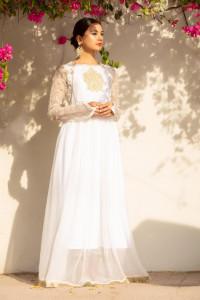 Nowa długa biała sukienka L 40 maxi złoto haft orientalna indyj...