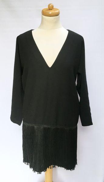 Suknie i sukienki Sukienka Suknia Czarna Frędzle Elegancka M 38 By Magmalou