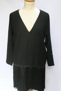 Sukienka Suknia Czarna Frędzle Elegancka M 38 By Magmalou