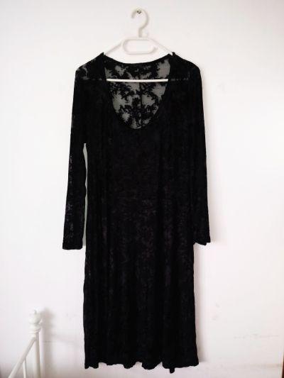 Suknie i sukienki Czarna długa sukienka mgiełka z welurem gotycka vintage witchy gothic