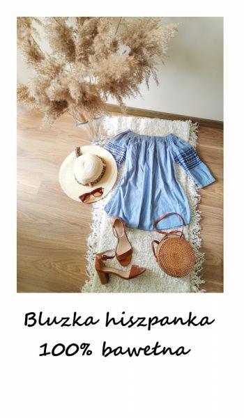 Bluzki Niebieska bawełniana bluzka hiszpanka S M bawełna wyszywana