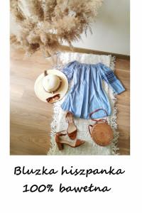 Niebieska bawełniana bluzka hiszpanka S M bawełna wyszywana...