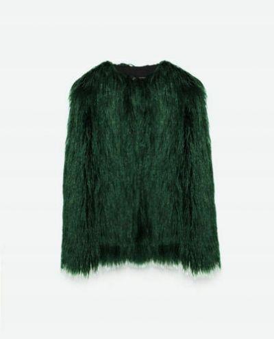 Odzież wierzchnia zielone futerko zara 38 M butelkowa zieleń