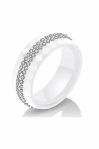 Nowy pierścionek ceramiczny biały obrączka cyrkonie wzór geometryczny