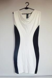 Mohito biało czarna bawełniana taliowana elegancka ołówkowa suk...