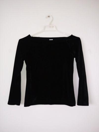 Bluzki Czarna welurowa bluzka dziewczęca elegancka goth