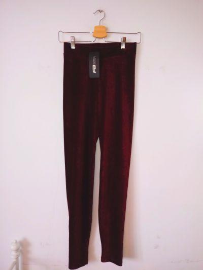 Legginsy NOWE bordowe czerwone legginsy New Yorker Fishbone paski vintage