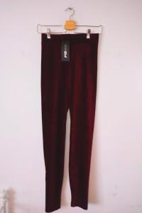 NOWE bordowe czerwone legginsy New Yorker Fishbone paski vintage
