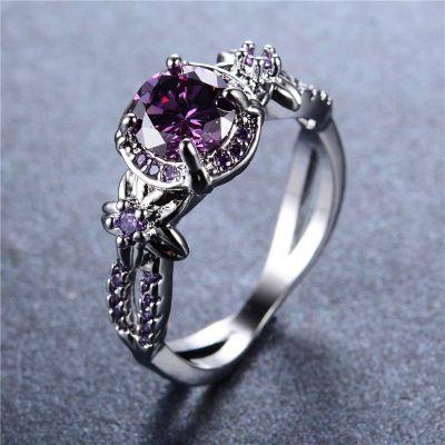 Pierścionki Nowy pierścionek srebrny kolor fioletowa cyrkonia kwiaty retro