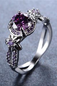 Nowy pierścionek srebrny kolor fioletowa cyrkonia kwiaty retro...