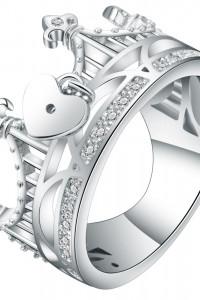 Nowy pierścionek duży korona tiara serce charms srebrny kolor białe cyrkonie