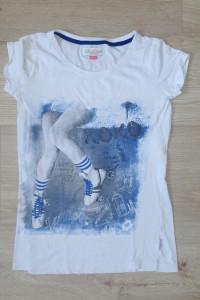 Cropp biała bluzka Tshirt wrotki 36 S...