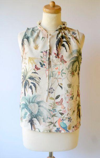 Bluzki Bluzka H&M XS 34 Wzory Liście Elegancka Palma