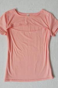różowa bluzka z odkrytym dekoltem 36 S 38 M