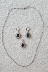 Nowy komplet biżuterii kolczyki naszyjnik łańcuszek zawieszka s...