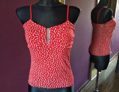 Bluzki Czerwona bluzeczka białe groszki pin up retro rockabilly